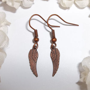 Copper Angel Wing Earrings Unisex Boho Set 4265